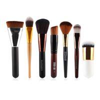 Fröken Rose 7 st / set Pulver Foundation Eyeshadow Eyeliner Lip Borstverktyg Kosmetiska Makeup Borstar V2 Make Up Borstverktyg