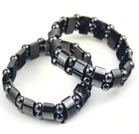 Bracciali ematite magnetici di modo del nero ematite borda il braccialetto magnetico neri per Perline Donne Uomini Bracciali DHL Regalo di Natale