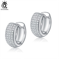 ORSA Small Circle Fashion Silver Color Earrings Micro Zircon...