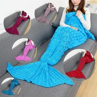 9Colors 140 * 70cm Mermaid Cauda Cobertores Mermaid Tail Sleeping Bags Cocoon Colchão Sofá nit Cobertura Handmade Living Room Sleeping Bag IB404