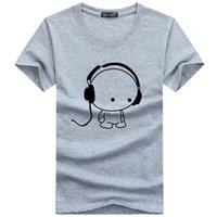 Calidad superior T Shirts Moda Auriculares historieta impresa camiseta ocasional de los hombres Camiseta de la marca de algodón Camiseta más el tamaño 5XL