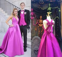 Sexy Purple Modest Prom Dresses 2018 Deep V Neck Open Back A...