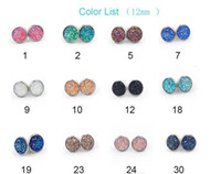 Hot resin round druzy stud earrings Fashion simple silver pl...