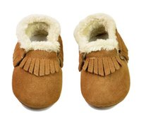 Suede Genuine Leather Baby Moccasins With Fur Fleece Lined s...