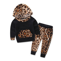 Baby Girls Set Flower Leopard Long Sleeve Hoodie + Pants Kids 2Pcs Set Cotton Baby Clothes Kids Outfit Sets