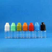 100 set / lotto 5 ml bottiglie di plastica contagocce PET a prova di bambino lungo sottile punta e liquido vapore vapt olio di succo 5 ml