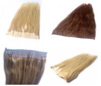 Lamium Brazilan Human Hair Top Qualität 14inch-30inch Halo Haarverlängerung echte brasilianische menschliche Flip in Haarverlängerungen 100g / Packung Seide gerade