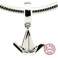 2016 оригами кран висит очарование 100% стерлингового серебра 925 бусины подходят Pandora подвески браслет аутентичные DIY ювелирные изделия