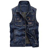 Men' s Denim Jacket Jeans Vest Sleeveless Cowboy Vest Vi...