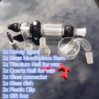 Nector Toplayıcı Cam bonglar için GR2 Titanyum Nail Bombeli Cam Bağlayıcı Cam Bulaşık Plastik Clip ile Nektar 2.0 Kiti Toplayıcı