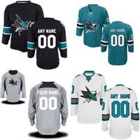 2016 새로운 맞춤형 당신의 이름 번호 Ice Jerseys 저렴한 San Jose Sharks 맞춤형 맞춤형 최고 품질 자수 로고 Ice Hockey Jersey