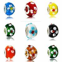 100pcs / Lot Fashion Round Flower Lampwork Glass Big hole Beads Fit European Charm Bracelet DIY Jewelry Gift GB01