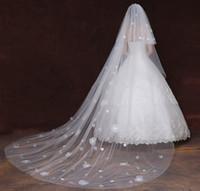 Calidad superior de marfil largo velos de boda capas de tul 3 m largo velos de novia accesorios de boda de lujo velos con apliques