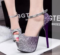 European Super sexy high- heeled shoes waterproof color Club ...
