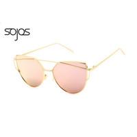 Wholesale-SOJOS Beschichtung Spiegel Sonnenbrille Frauen / Männer Cat Eye Sonnenbrille Fashion Brand New Twin-Beams Rosa Sonnenbrille oculos de sol 1001