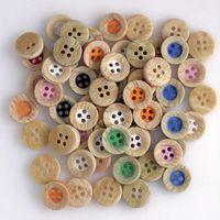WB-24 wholesale 100pcs Mixcolor 메 자닌 수지 단추 4 구멍 다채로운 단추 장식 봉 제 공예 의류 액세서리