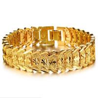 ZHF BIJOUX Large bracelet chaîne plaqué or hommes de mariage bijoux 18 K plaqué or bracelet chaîne pour hommes de mode cadeaux en gros KS398