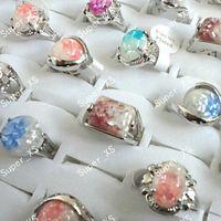 패션 전복 합금 쉘 여성 은색 도금 반지 새로운 도매 로트 보석 반지 LR100 무료 배송