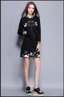 2016 mulheres de manga comprida casaco curto terno outono inverno feminino novo estilo gato bordado casaco + acima do joelho comprimento pacote de saia