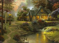 Stillwater Cottage, Thomas Kinkade, High Quality Genuine Hand...