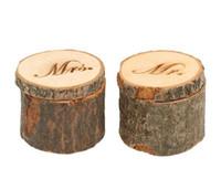 Un par de boda del anillo de madera rústica Caja elegante lamentable de madera caja de anillo de boda portador Caja fotografía apoya Ronda creativa decoración de la boda