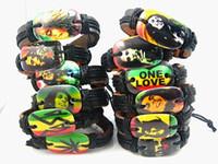gros vrac mélangé styles haut 24pcs / lot en cuir rétro Bob Marley Rasta manchette bracelets tout nouveau multi-couleurs