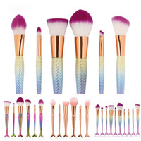 Mais recentes 6 / 10pcs / set Mermaid Color Make Up Sobrancelha Eyeliner Blush Blending Contour Foundation Cosméticos Mulheres Beauty Makeup Brush Tools ZL3239