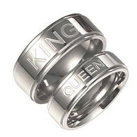 Stainless Steel KING QUEEN Ring Silver Band Ring Couple Enga...