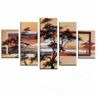 NEW 2016 Handmade 5 pcs / set Paintings 고품질 추상적 인 캔버스 아트 유화 선 라이즈 월 그림 거실 장식 홈 장식