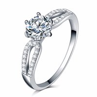 Fashion Engagement Rings for women 18K white gold plated sil...