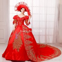 Vendita calda Red Renassiance Rococo medievale Marie Antoinette Wedding Party Dress Women Histerical Ball Gowns Costumi di danza Vestido