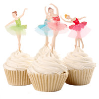 Elegante bailarina Cupcake Topper Dancer Cake Topper Cake Accessory Girl Birthday Party Supplies 120 unids / lote DEC066