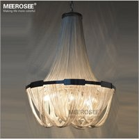 French Aluminum Chain Pendant Light Fixture Empire Vintage H...