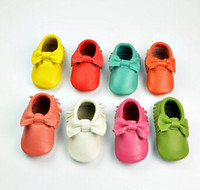 wholesale bowknot baby moccasins genuine leather prewalk bab...