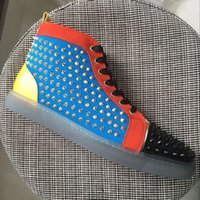 New mens womens colorblock patchwork leather with spikes hig...