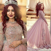 2018 Hot Sexy Arabic Prom Dresses Jewel Neck Illusion Lace A...