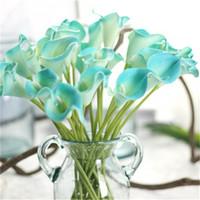 Atacado 20PCS decorativa Slik Artificial PU Flores do lírio de Calla para o casamento Bouquet Home Hotel Fontes do partido Festival Coroas Decor