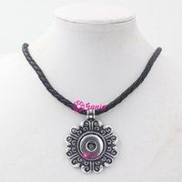 100% New Arrival DIY Snap Jewelry Black PU Leather Necklace ...