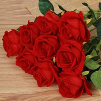 Red Rose in Flannel Artificial Flower For Wedding Decoration...
