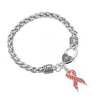 Freies Verschiffen Brustkrebs-Bewusstseins-Band-Kristallrhinestone-Charme-Hummer-Haken-Armband für Frauen