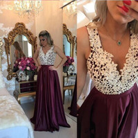 Marsala Burgundy Long Prom Dresses Lace with Pearls Top Deep...