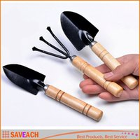 3Pcs Set Mini Sharp Shovel Rake Wooden Handle Iron Head Plan...