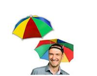 """12 """"레인보우 우산 모자 휴대용 우산 모자 접이식 탄성 스트랩 낚시 우산 모자"""