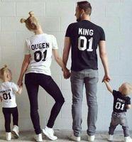 2016 새로운 가족 킹 퀸 01 프린트 셔츠, 100 % 코튼 티셔츠 엄마와 딸 아버지 의류 공주님 세트 부모 - 아이