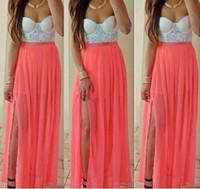 Vatten melon chiffong prom klänningar 2017 sexiga strapless party klänningar med front split golv längd kvällsklänningar 2016