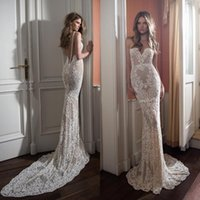 Heißer Verkauf Berta Mermaid Spitze Brautkleider Sheer Schatz Neck Backless Brautkleider Appliqued Sweep Zug Perlen Vestidos De Noiva
