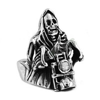 Free shipping! Grim Reaper Skull Ride Motorcycle Ring Stainl...