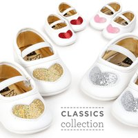 Girl Baby Shoes PU leather Heart Pattern crib Prewalkers Aut...