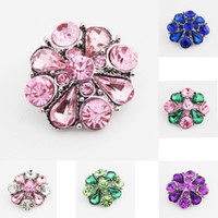 Pack Of 16pcs Crystal Metal Snap Button Charm Rhinestone Sty...
