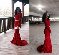 2016 New Sexy Red Lace Two Pieces Mermaid Prom Dresses Long ...